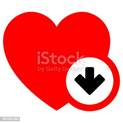 Black sign on a red heart