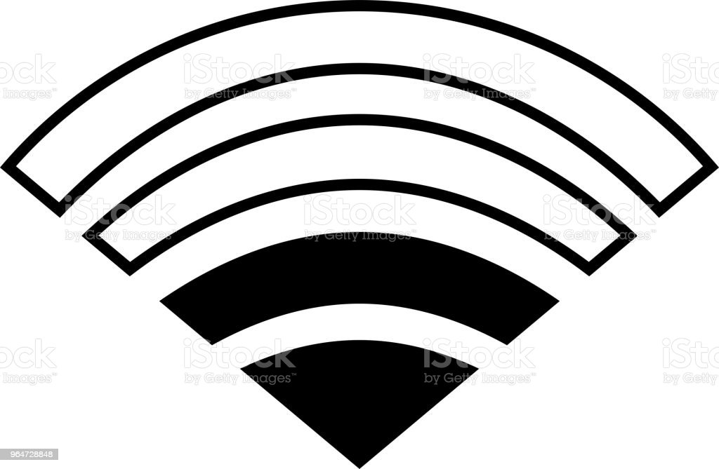Black Signal icon of radio wave status 2 vector art illustration
