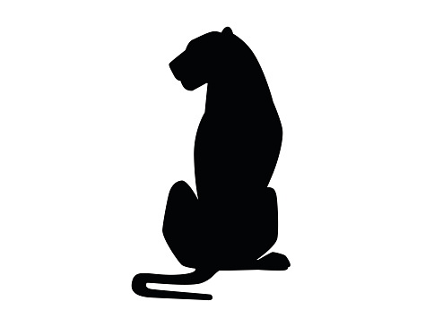 Black silhouette adult lioness sit on the ground african wild predatory cat female lion cartoon cute animal design flat vector illustration isolated on white background