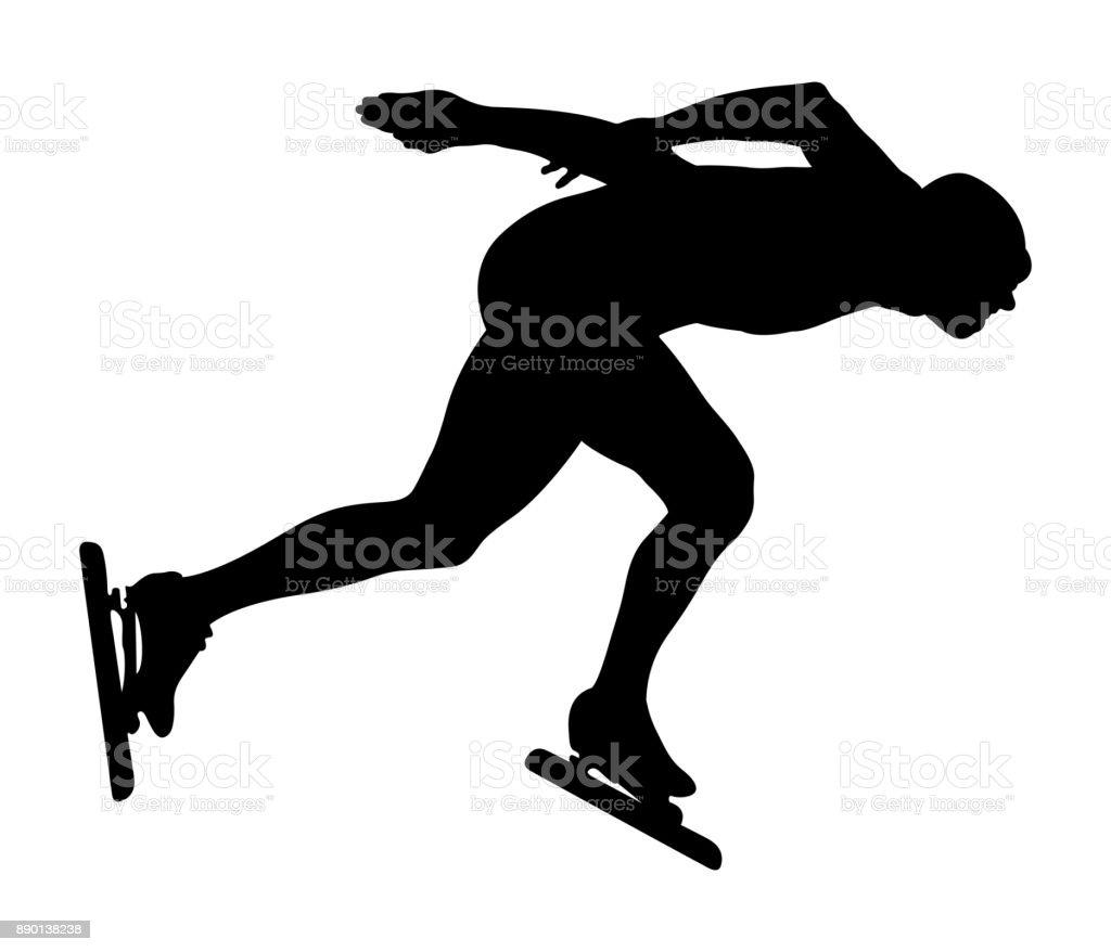 black silhouette athlete speedskater vector art illustration