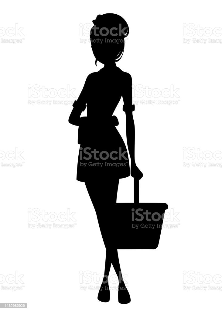 Black silhouette. Beautiful maid in classic french outfit. Cartoon...