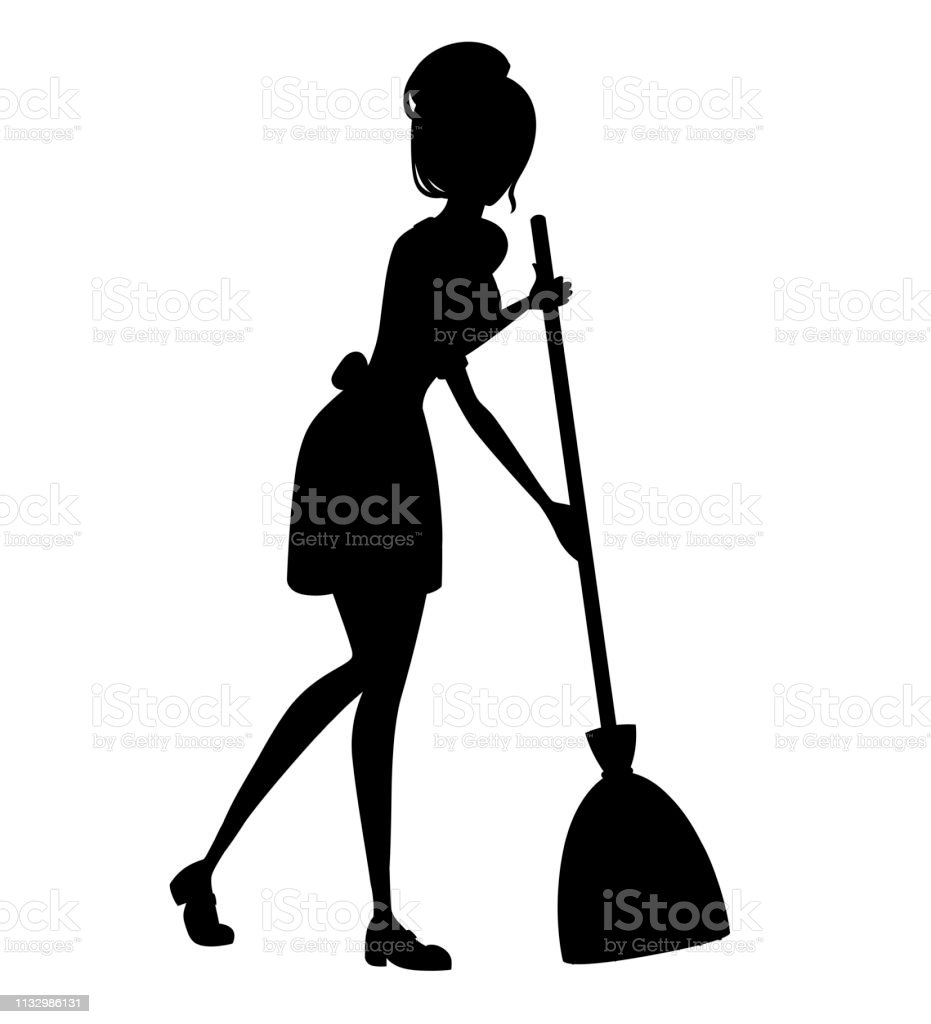 Black Silhouette Beautiful Maid In Classic French Outfit Cartoon