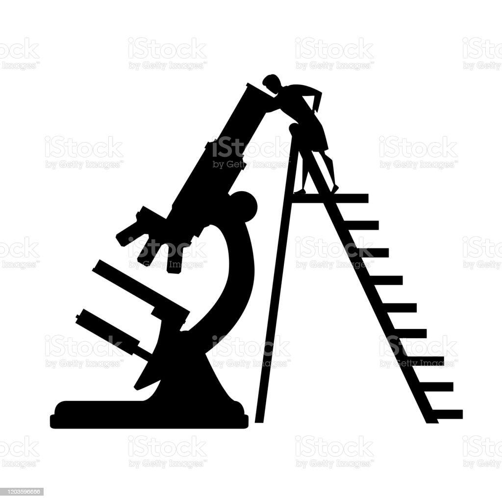 black silhouette big microscope with scientist climbs the ladder cartoon character design flat vector illustration on white background stock illustration download image now istock black silhouette big microscope with scientist climbs the ladder cartoon character design flat vector illustration on white background stock illustration download image now istock