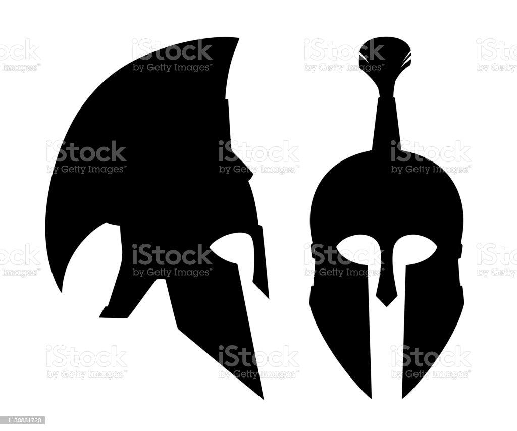 b1e341abe Black silhouette. Bronze greek helmet. Spartan ancient armor. Red hair  helmet. Flat