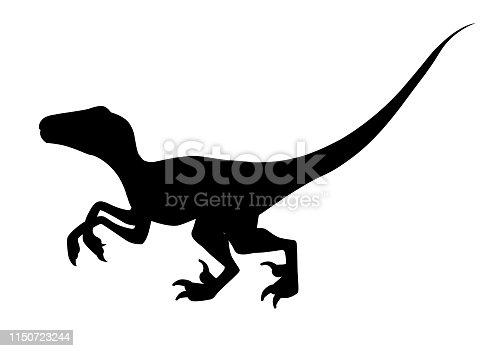 Black silhouette. Brown raptor. Cute dinosaur, cartoon design. Flat vector illustration isolated on white background. Animal of jurassic world. Small carnivore dinosaur.