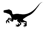 Black silhouette. Brown raptor. Cute dinosaur, cartoon design. Flat vector illustration isolated on white background. Animal of jurassic world. Small carnivore dinosaur.