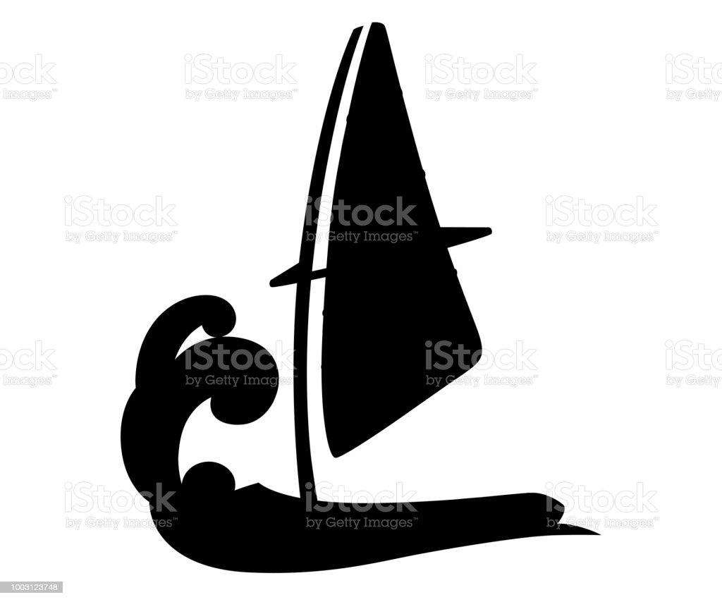 Silhouette Noire Dessin Anime De Planche De Voiles Sur Leau Equipement De Planche A Voile Illustration De Vecteur De Planche A Voile Isole Sur Fond Blanc Vecteurs Libres De Droits Et Plus