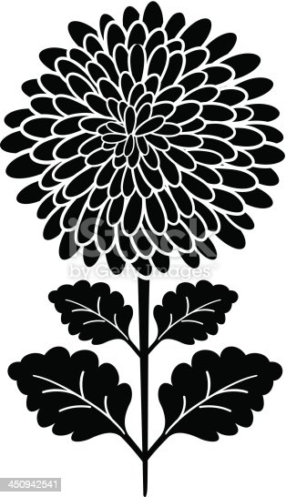 black silhouette chrysanthemum flower stock vector art