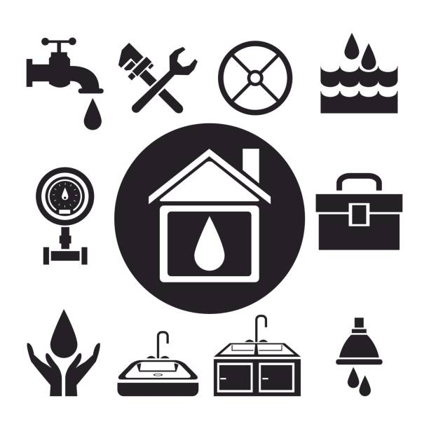 black silhouette circular frame house with drop inside and icon plumbing tools black silhouette circular frame house with drop inside and icon plumbing tools vector illustration bathroom borders stock illustrations
