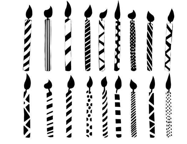 Black silhouette collection of birthday candles flat vector illustration on white background Black silhouette collection of birthday candles flat vector illustration on white background. anniversary silhouettes stock illustrations