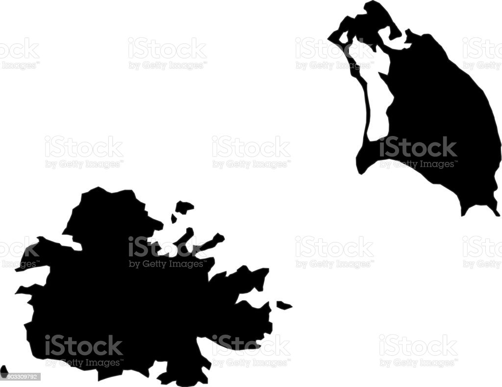 Black Silhouette Country Borders Map Of Antigua And Barbuda On White