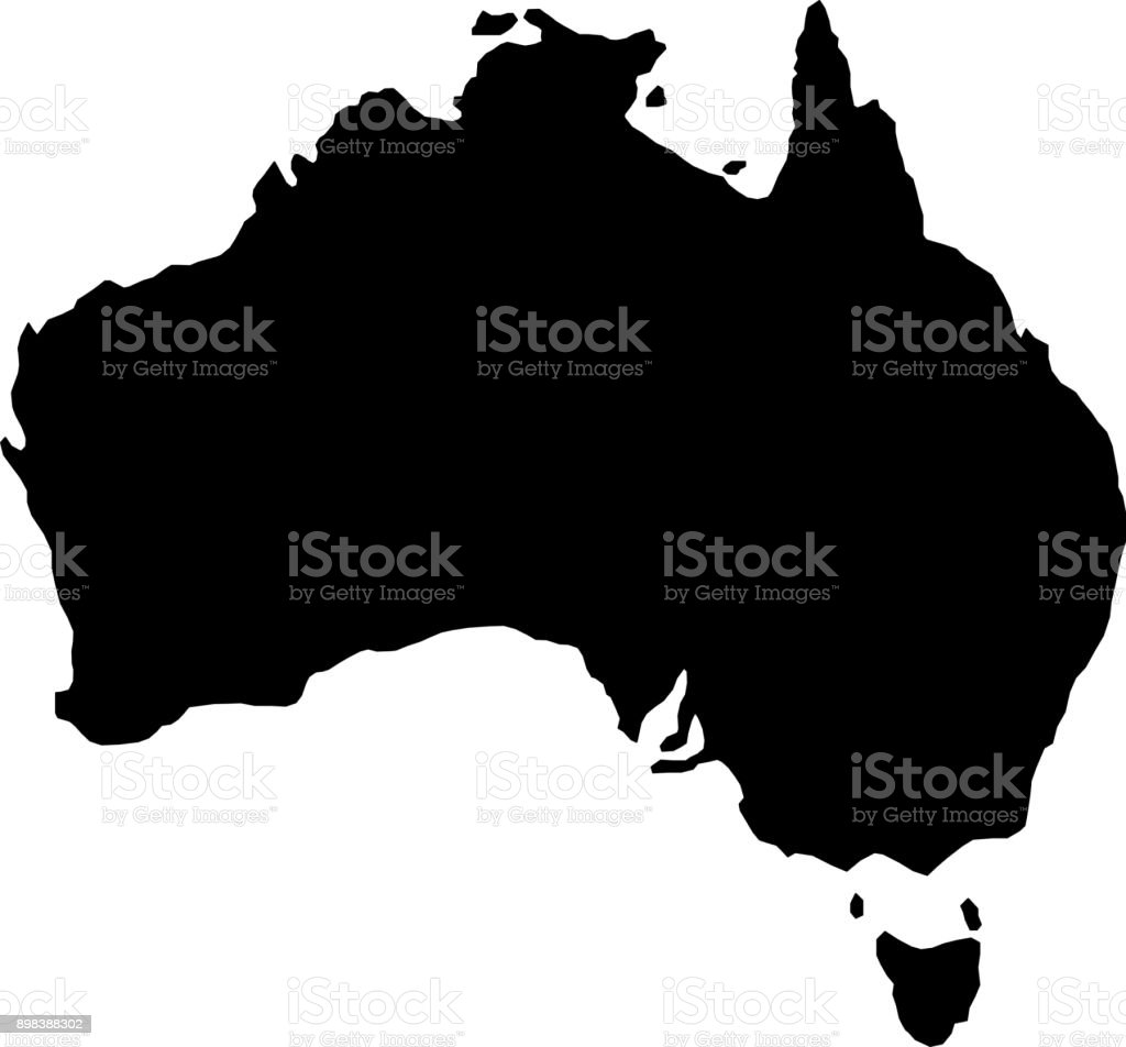 black silhouette country borders map of Australia on white background of vector illustration vector art illustration