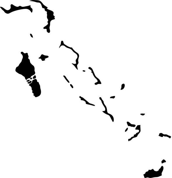 stockillustraties, clipart, cartoons en iconen met zwarte silhouet land grenzen kaart van bahamas op witte achtergrond van vectorillustratie - nassau new providence