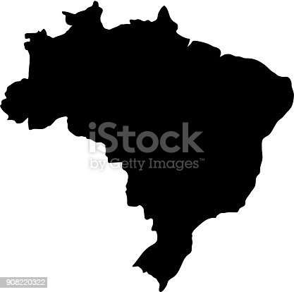 istock black silhouette country borders map of Brazil on white background of vector illustration 908220322