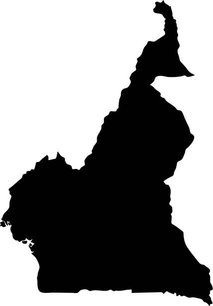 schwarze silhouette grenzen landkarte kamerun auf weißem hintergrund. kontur des staates. vektor-illustration - kamerun stock-grafiken, -clipart, -cartoons und -symbole