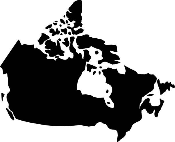 black silhouette country borders map of Canada on white background of vector illustration black silhouette country borders map of Canada on white background of vector illustration canada stock illustrations