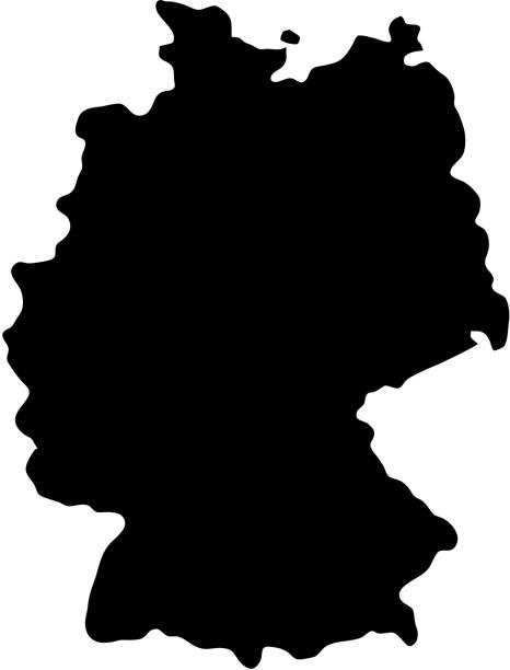 벡터 일러스트 레이 션의 흰색 바탕에 독일의 검은 실루엣 국가 국경 지도 - 독일 stock illustrations