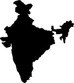 black silhouette country borders map of India on white background. Contour of state. Vector illustration