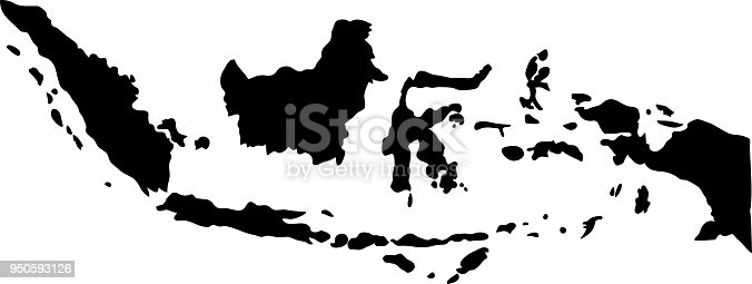black silhouette country borders map of Indonesia on white background of vector illustration