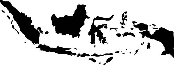 black silhouette country borders map of Indonesia on white background of vector illustration black silhouette country borders map of Indonesia on white background of vector illustration indonesia stock illustrations
