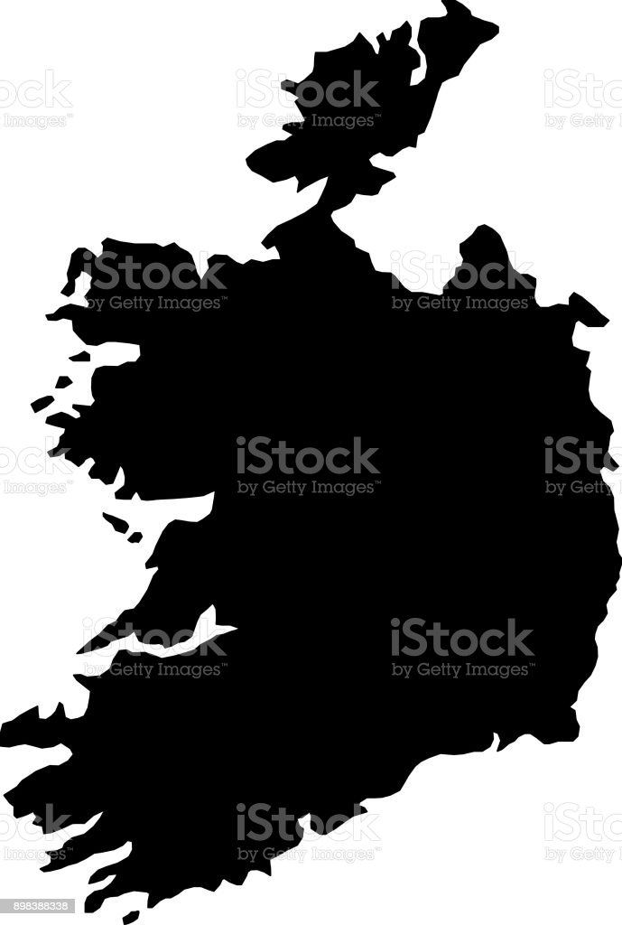black silhouette country borders map of Ireland on white background of vector illustration