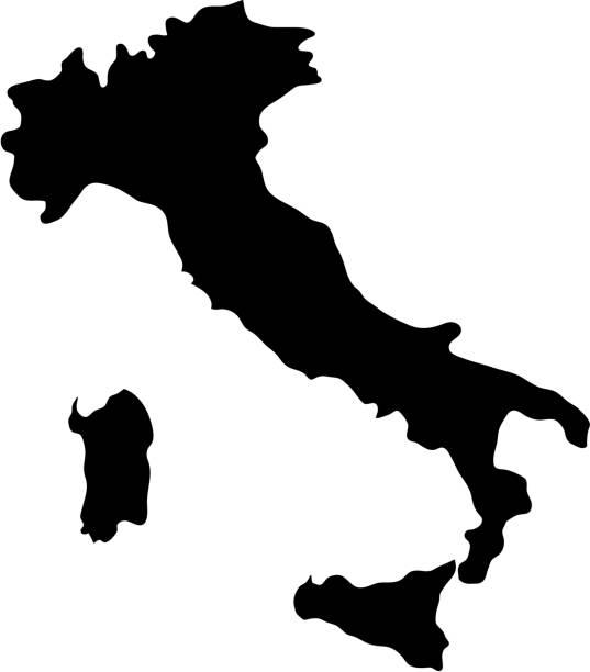 ilustraciones, imágenes clip art, dibujos animados e iconos de stock de mapa de las fronteras de país silueta negra de italia sobre fondo blanco de la ilustración de vector - siluetas de mapas