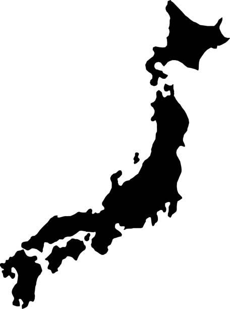 illustrazioni stock, clip art, cartoni animati e icone di tendenza di black silhouette country borders map of japan on white background of vector illustration - giappone