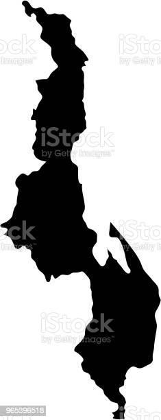 검은 실루엣 국가 국경 지도 말라위의 흰색 배경 상태의 윤곽선입니다 벡터 일러스트 레이 션 0명에 대한 스톡 벡터 아트 및 기타 이미지