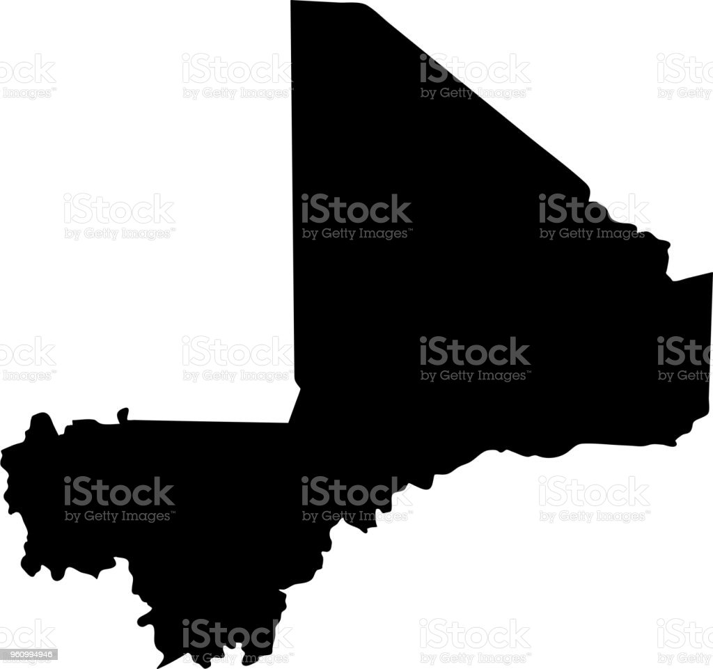 Black Silhouette Country Borders Map Of Mali On White Background ...