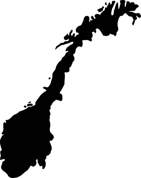 black silhouette country borders map of Norway on white background of vector illustration black silhouette country borders map of Norway on white background of vector illustration norway stock illustrations