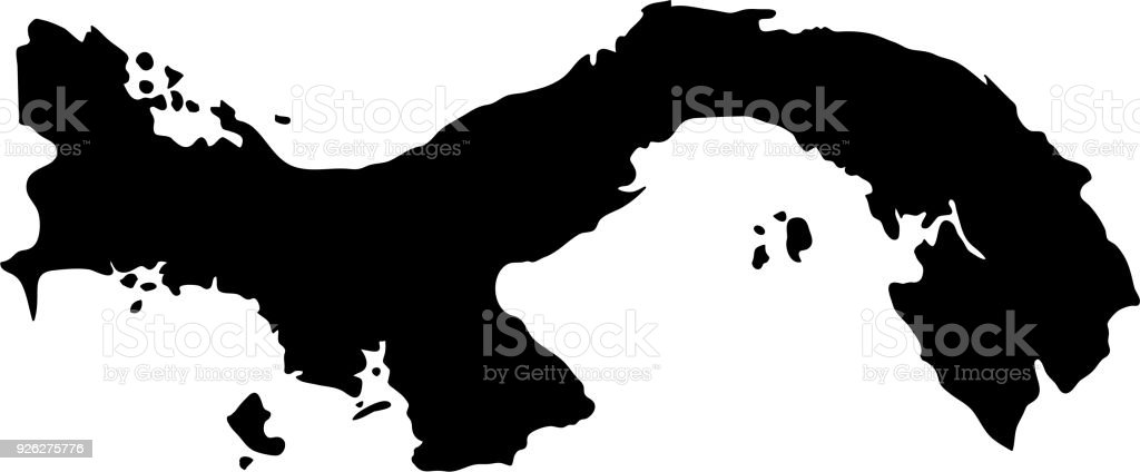 Black Silhouette Country Borders Map Of Panama On White Background Of  Vector Illustration Royalty Free