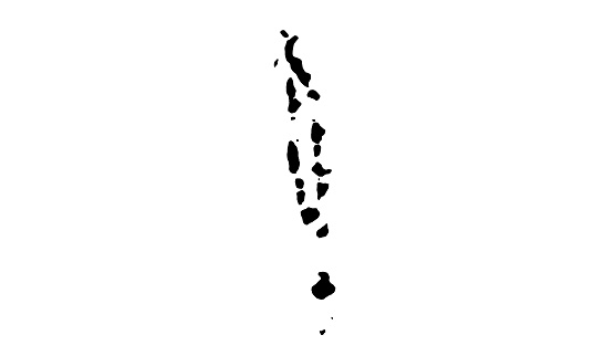 Black silhouette country map of Maldives in south asia