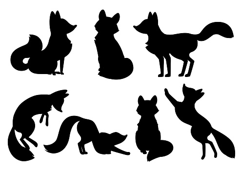 Black silhouette. Cute cartoon fox set. Funny red fox collection. Emotion little animal. Cartoon animal character design. Flat vector illustration isolated on white background