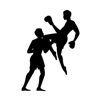 black silhouette design of martial arts of thailand called muay thai