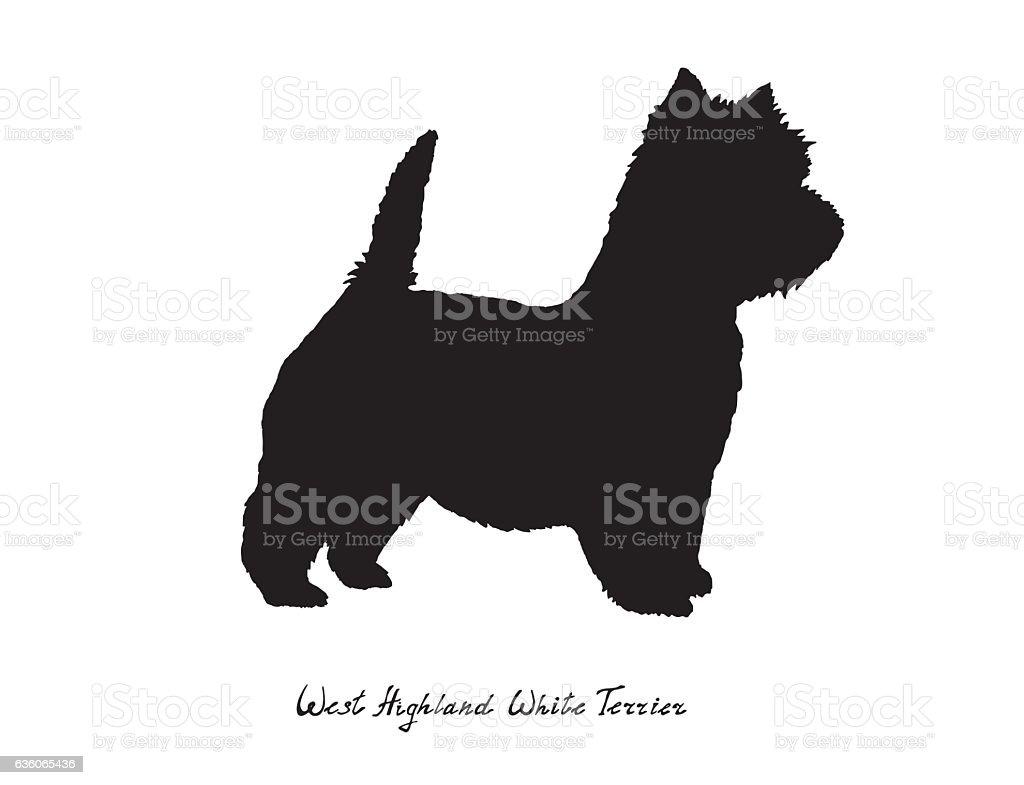 Black silhouette dog West Highland White Terrier on white background vector art illustration