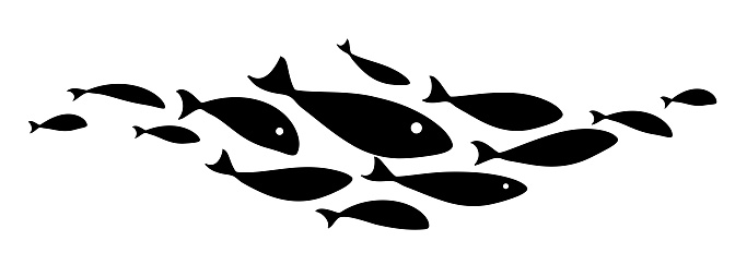 Black silhouette flock of fish. Element for your design. Logo template. Vector illustration.