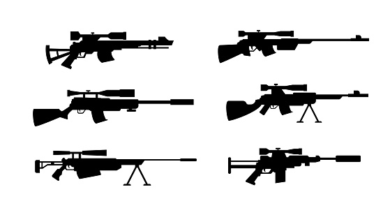 Black silhouette icons of sniper weapon set, flat vector illustration isolated.