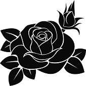 Black silhouette illustration of a rose, rosebud, and leaves
