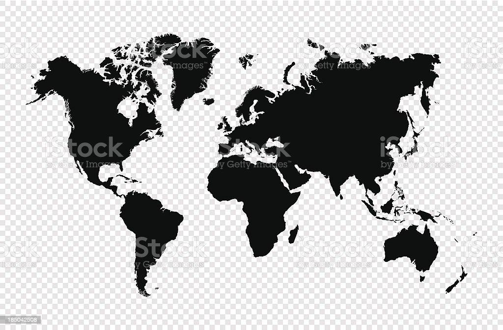 Schwarze silhouette isoliert World Karte EPS10 Vektor-Datei. – Vektorgrafik