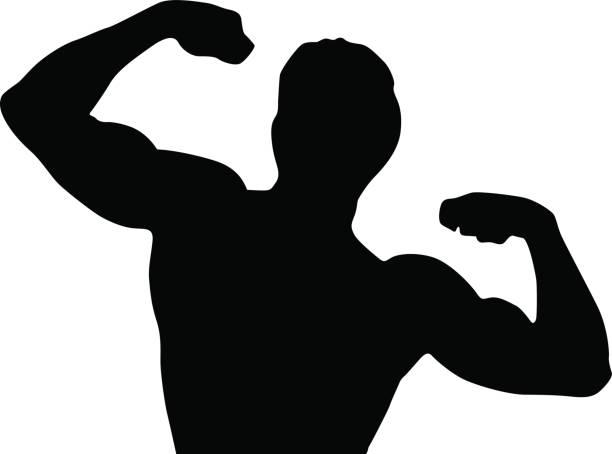 Black silhouette man vector art illustration