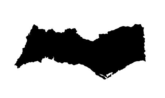 Black silhouette map of Faro District in Portugal