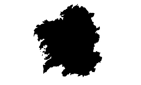 Black silhouette map of Santiago de Compostela city in spain