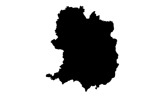 Black silhouette map of the city of Bielefeld in Germany