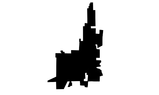 black silhouette map of the city of Bluffton in the Carolinas