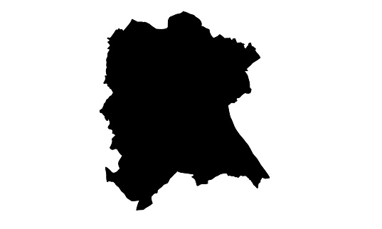black silhouette map of the city of Bonn in Germany