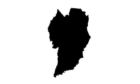 Black silhouette map of the city of Curitiba in Brazil
