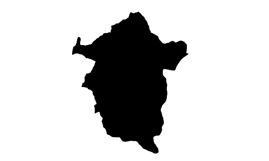 black silhouette map of the city of Enugu in Nigeria