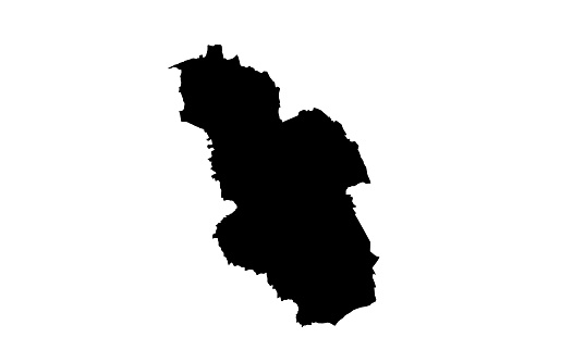 black silhouette map of the city of Gelsenkirchen in Germany