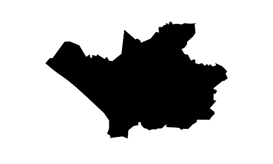 black silhouette map of the city of Leverkusen in Germany