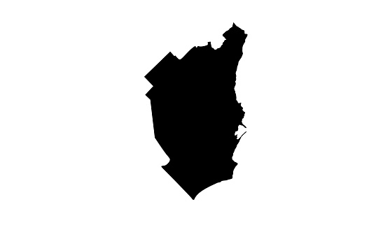 Black silhouette map of the city of Mar del Plata in Argentina